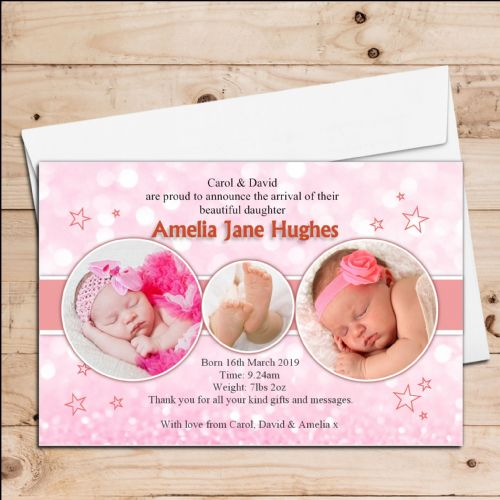 10 Personalised New Baby Girl Birth Announcement Thank You PHOTO cards N44
